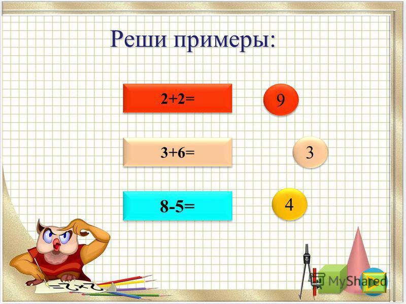 Реши примеры: 2+2= 3+6= 8-5= 4 4 3 3 9 9