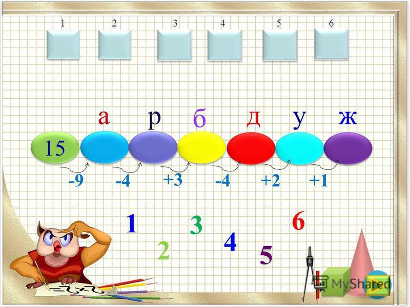 15 -9 а -4 р +3 б -4 д +2 у +1 ж 1 2 3 4 5 6 123456