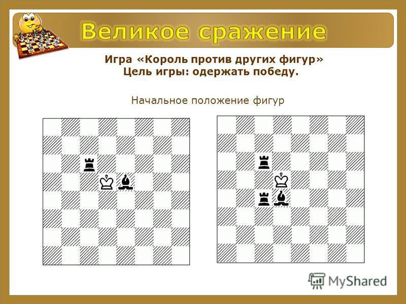 Игра «Король против других фигур» Цель игры: одержать победу. Начальное положение фигур