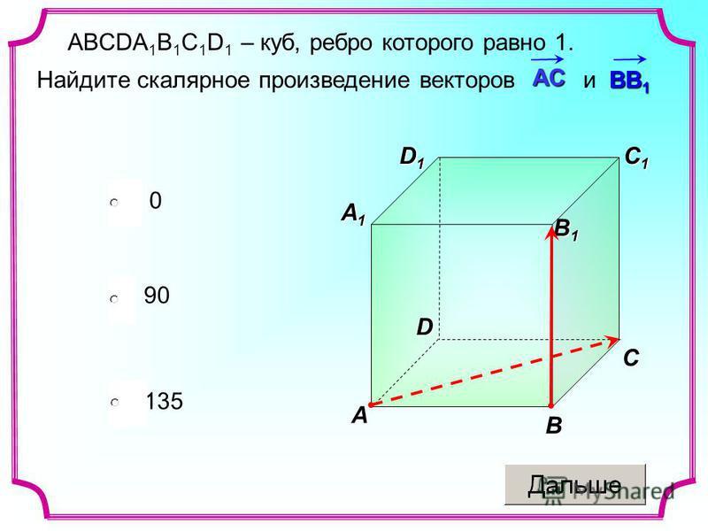 ABCDA 1 B 1 C 1 D 1 – куб, ребро которого равно 1. ВВ 1 Найдите скалярное произведение векторов и ВВ 1 135 0 90АС D1D1D1D1C B A D C1C1C1C1 A1A1A1A1 B1B1B1B1