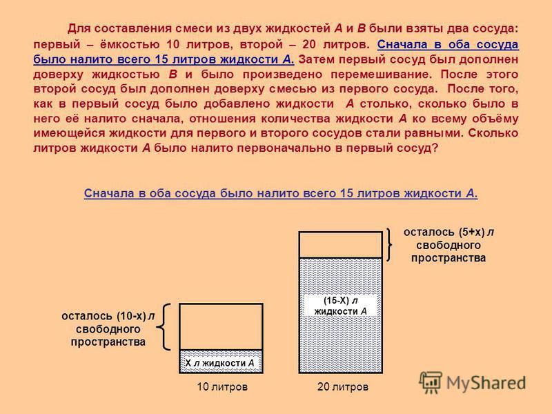 Сначала в оба сосуда было налито всего 15 литров жидкости А. 10 литров 20 литров Х л жидкости А (15-Х) л жидкости А осталось (10-х) л свободного пространства осталось (5+х) л свободного пространства Для составления смеси из двух жидкостей А и В были