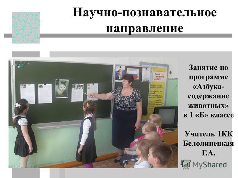 Научно-познавательное направление Занятие по программе «Азбука- содержание животных» в 1 «Б» классе Учитель 1КК Белолипецкая Г.А.