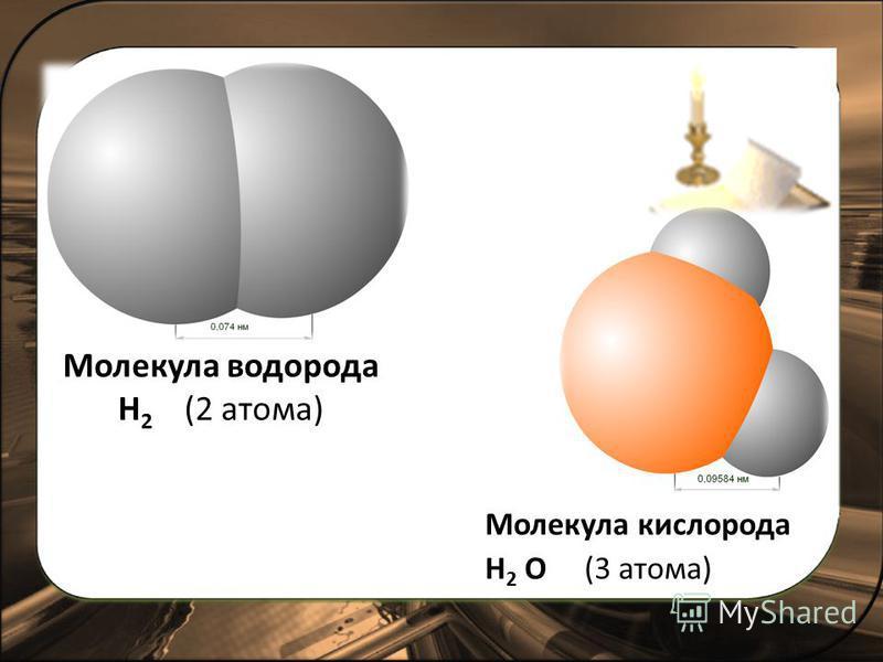 Молекула водорода Н 2 (2 атома) Молекула кислорода Н 2 О (3 атома)