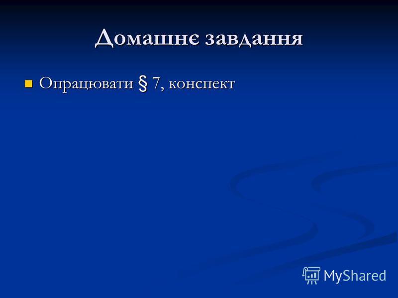 Домашнє завдання Опрацювати § 7, конспект Опрацювати § 7, конспект
