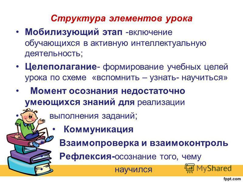 Структура элементов урока Мобилизующий этап - включение обучающихся в активную интеллектуальную деятельность; Целеполагание- формирование учебных целей урока по схеме «вспомнить – узнать- научиться» Момент осознания недостаточно имеющихся знаний для