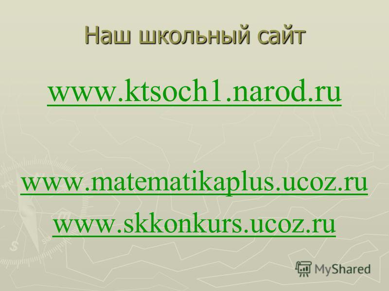 Наш школьный сайт www.ktsoch1.narod.ru www.matematikaplus.ucoz.ru www.skkonkurs.ucoz.ru