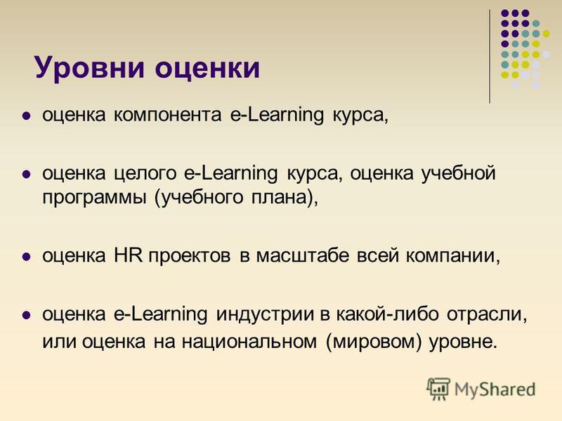 Уровни оценки оценка компонента e-Learning курса, оценка целого e-Learning курса, оценка учебной программы (учебного плана), оценка HR проектов в масштабе всей компании, оценка e-Learning индустрии в какой-либо отрасли, или оценка на национальном (ми