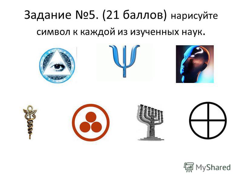 Задание 5. (21 баллов) нарисуйте символ к каждой из изученных наук.