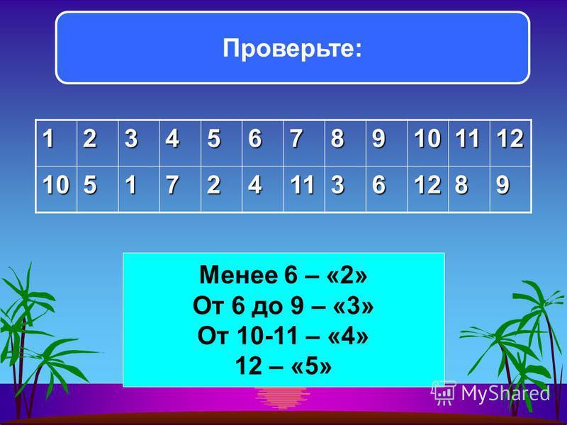 123456789101112 105172411361289 Проверьте: Менее 6 – «2» От 6 до 9 – «3» От 10-11 – «4» 12 – «5»