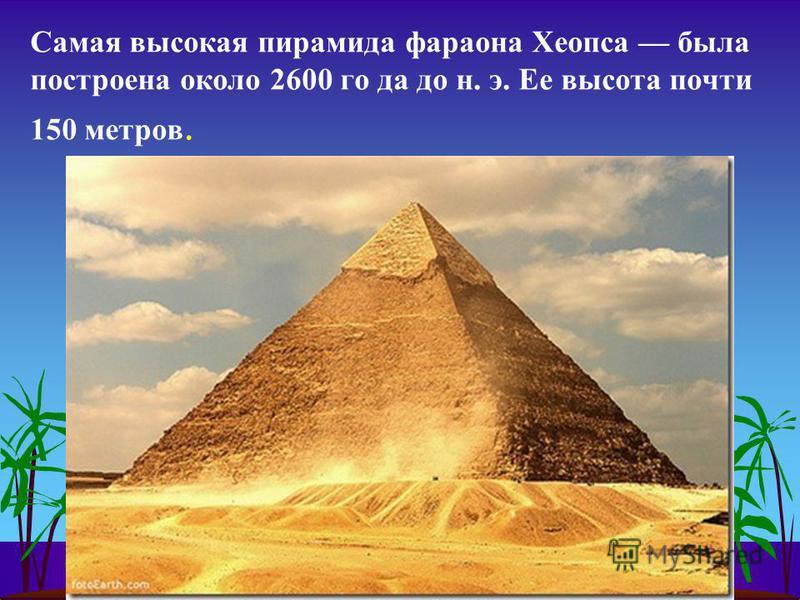 Самая высокая пирамида фараона Хеопса была построена около 2600 го да до н. э. Ее высота почти 150 метров.