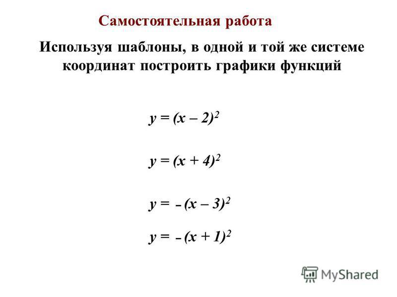 Используя шаблоны, в одной и той же системе координат построить графики функций y = (x – 2) 2 y = (x + 4) 2 y = – (x – 3) 2 y = – (x + 1) 2 Самостоятельная работа