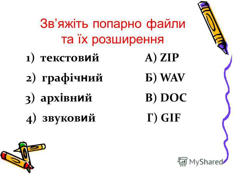 Звяжіть попарно файли та їх розширення 1) текстов и й 2) графіч н ий 3) арх і вн и й 4) звуков и й А) ZIP Б) WAV В) DOC Г) GIF