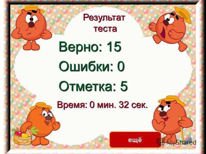 Результат теста Верно: 15 Ошибки: 0 Отметка: 5 Время: 0 мин. 32 сек. ещё