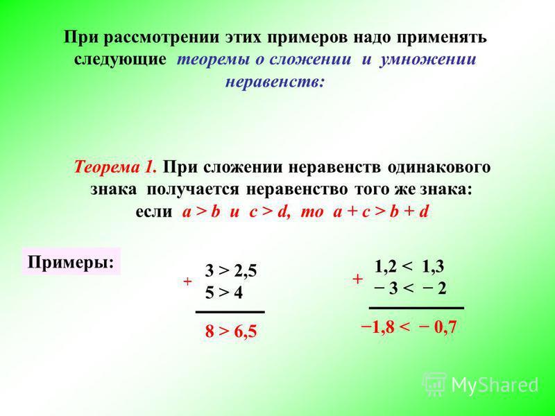 При рассмотрении этих примеров надо применять следующие теоремы о сложении и умножении неравенств: Теорема 1. При сложении неравенств одинакового знака получается неравенство того же знака: если а > b и c > d, то а + с > b + d Примеры: 3 > 2,5 5 > 4