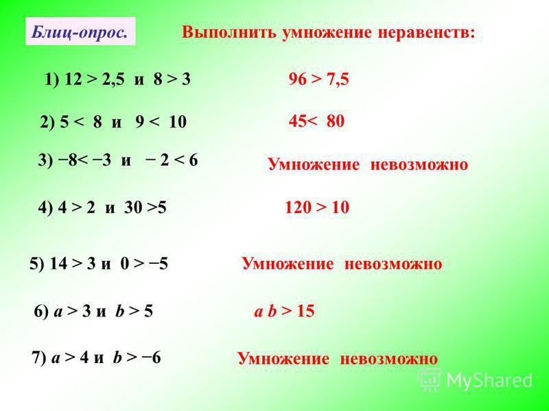 Блиц-опрос.Выполнить умножение неравенств: 1) 12 > 2,5 и 8 > 396 > 7,5 2) 5 < 8 и 9 < 10 45< 80 3) 8< 3 и 2 < 6 Умножение невозможно 4) 4 > 2 и 30 >5120 > 10 5) 14 > 3 и 0 > 5Умножение невозможно 6) а > 3 и b > 5a b > 15 7) а > 4 и b > 6 Умножение не