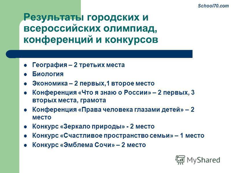 Результаты городских и всероссийских олимпиад, конференций и конкурсов География – 2 третьих места Биология Экономика – 2 первых,1 второе место Конференция «Что я знаю о России» – 2 первых, 3 вторых места, грамота Конференция «Права человека глазами