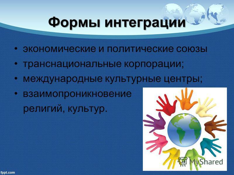 Формы интеграции экономические и политические союзы транснациональные корпорации; международные культурные центры; взаимопроникновение религий, культур.