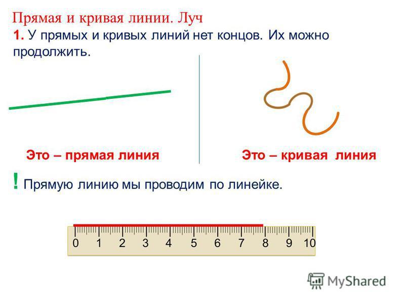 Прямая и кривая линии. Луч 1. У прямых и кривых линий нет концов. Их можно продолжить. ! Прямую линию мы проводим по линейке. Это – прямая линия Это – кривая линия