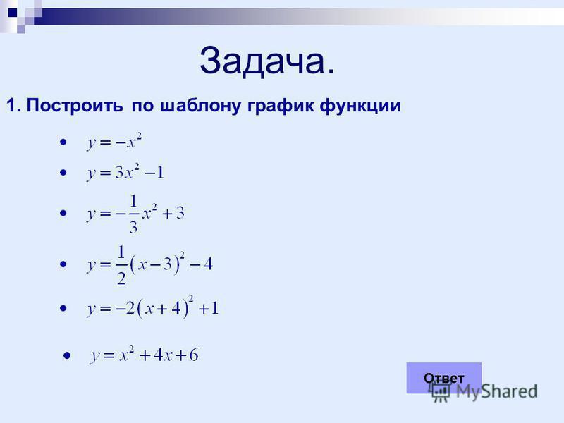 Задача. 1. Построить по шаблону график функции Ответ