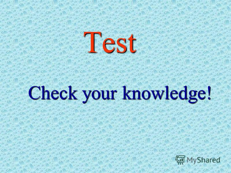 Test Check your knowledge!