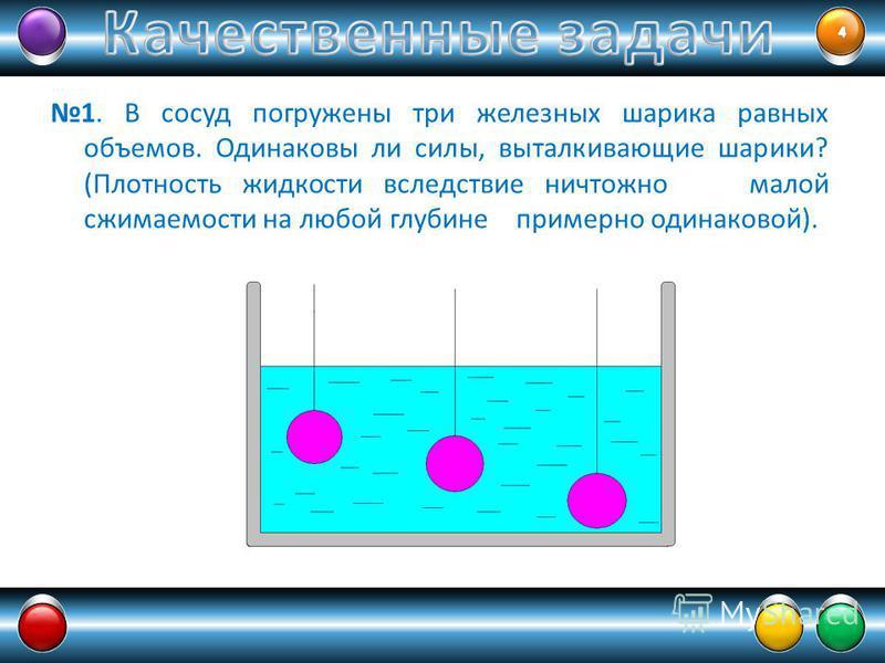 1. В сосуд погружены три железных шарика равных объемов. Одинаковы ли силы, выталкивающие шарики? (Плотность жидкости вследствие ничтожно малой сжимаемости на любой глубине примерно одинаковой).
