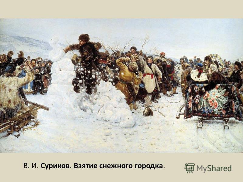 Сюжетно-тематическая картина изображает событий жизни человека. В. И. Сукиров. Взятие снежного городка.