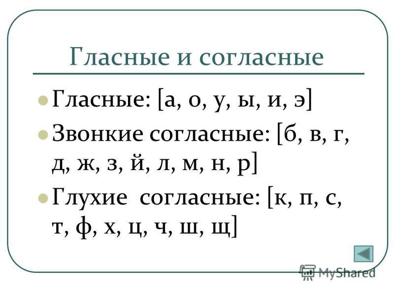 Гласные и согласные Гласные: [а, о, у, ы, и, э] Звонкие согласные: [б, в, г, д, ж, з, й, л, м, н, р] Глухие согласные: [к, п, с, т, ф, х, ц, ч, ш, щ]
