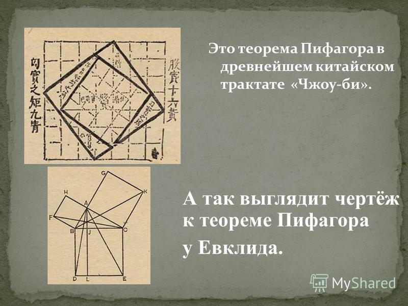 Это теорема Пифагора в древнейшем китайском трактате «Чжоу-би». А так выглядит чертёж к теореме Пифагора у Евклида.