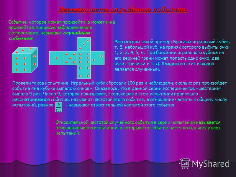 Вероятность случайного события. Событие, которое может произойти, а может и не произойти в процессе наблюдения или эксперимента, называют случайным событием. Рассмотрим такой пример: Бросают игральный кубик, т. Е. небольшой куб, на гранях которого вы