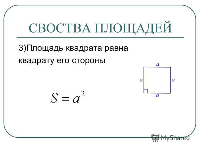 СВОСТВА ПЛОЩАДЕЙ 3)Площадь квадрата равна квадрату его стороны