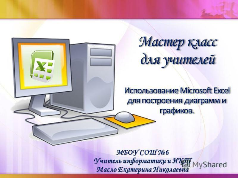 МБОУ СОШ 6 Учитель информатики и ИКТ Масло Екатерина Николаевна Мастер класс для учителей Использование Microsoft Excel для построения диаграмм и графиков. Мастер класс для учителей Использование Microsoft Excel для построения диаграмм и графиков.