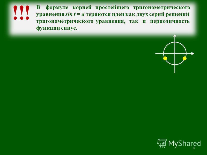 8 !! В формуле корней простейшего тригонометрического уравнения sin t = a теряются идеи как двух серий решений тригонометрического уравнения, так и периодичность функции синус.