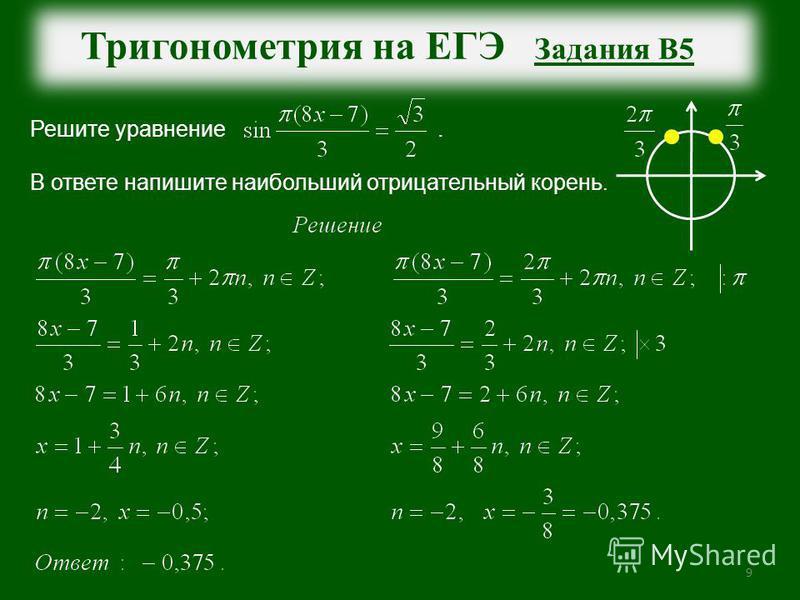9 Тригонометрия на ЕГЭ Задания В5 Решите уравнение. В ответе напишите наибольший отрицательный корень.