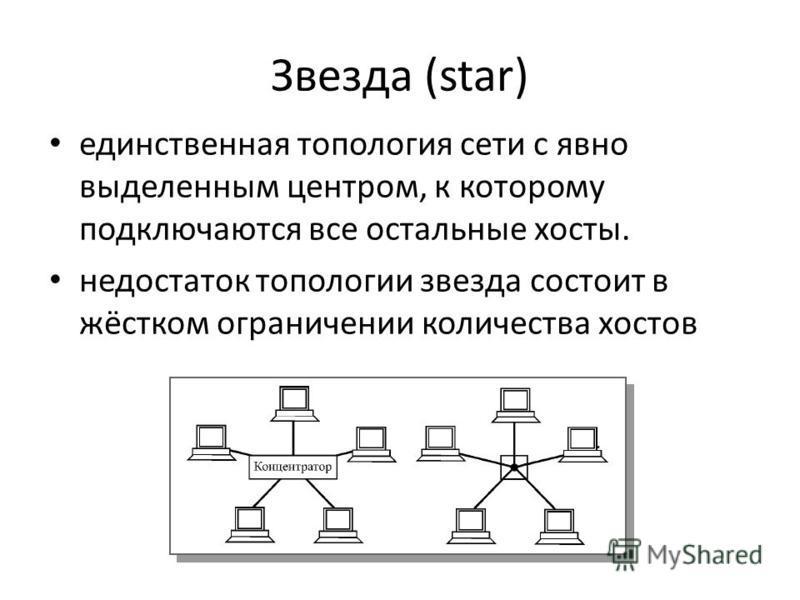 Звезда (star) единственная топология сети с явно выделенным центром, к которому подключаются все остальные хосты. недостаток топологии звезда состоит в жёстком ограничении количества хостов