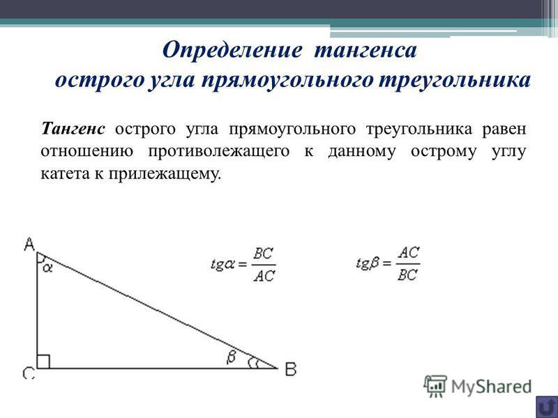 Определение тангенса острого угла прямоугольного треугольника Тангенс острого угла прямоугольного треугольника равен отношению противолежащего к данному острому углу катета к прилежащему.