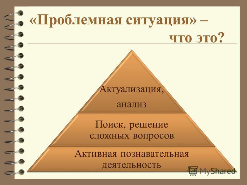 «Проблемная ситуация» – что это? Актуализация, анализ Поиск, решение сложных вопросов Активная познавательная деятельность