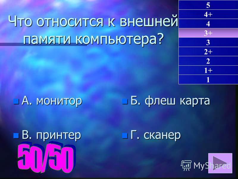 Что относится к внешней памяти компьютера? n А. монитор n В. принтер n Б. флеш карта n Г. сканер 3+ 1 4+ 4 3 2+ 2 1+ 5