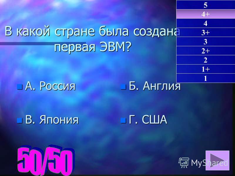 В какой стране была создана первая ЭВМ? n А. Россия n В. Япония n Б. Англия n Г. США 4+ 1 4 3+ 3 2+ 2 1+ 5