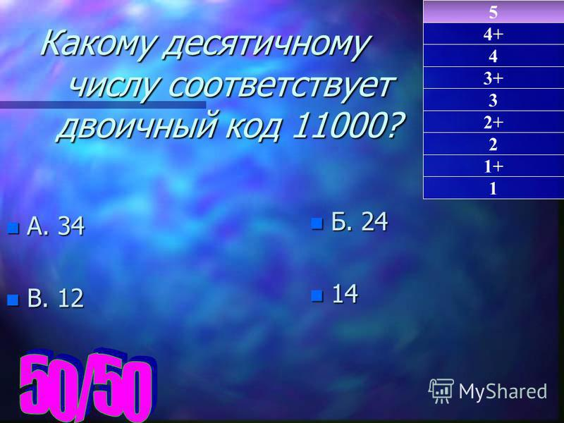 n А. 34 n В. 12 n Б. 24 n 14 5 1 4 3+ 3 2+ 2 1+ 4+ Какому десятичному числу соответствует двоичный код 11000?