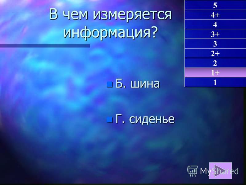n Б. шина n Г. сиденье 1+ 1 5 4+ 4 3+ 3 2+ 2 В чем измеряется информация?