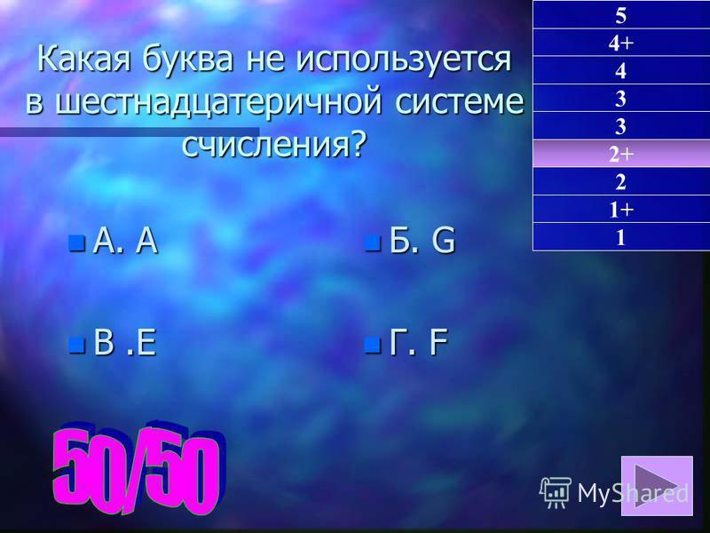 Какая буква не используется в шестнадцатеричной системе счисления? n А. A n В.E n Б. G n Г. F 2+ 1 4+ 4 3 3 2 1+ 5