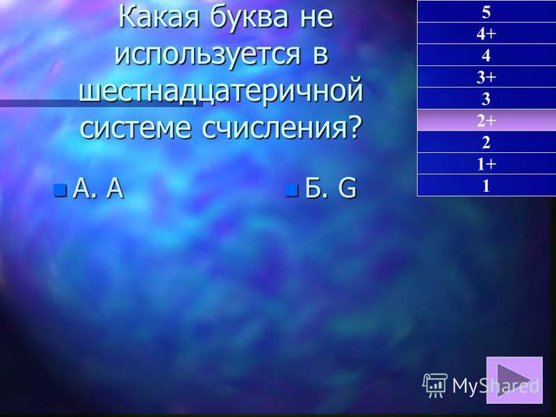 Какая буква не используется в шестнадцатеричной системе счисления? Какая буква не используется в шестнадцатеричной системе счисления? n А. A n Б. G 2+ 1 4+ 4 3+ 3 2 1+ 5