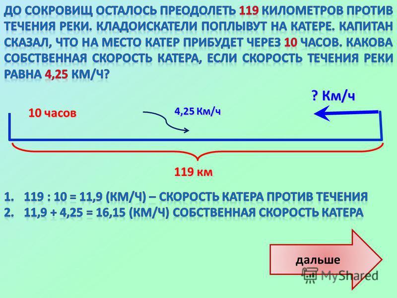 дальше ? Км/ч 119 км 119 км 10 часов 10 часов 4,25 Км/ч