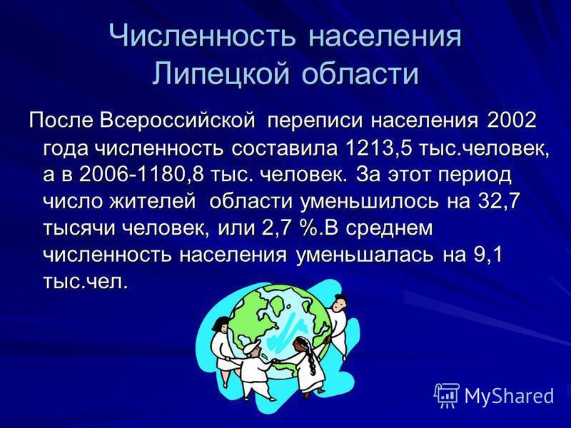 Численность населения Липецкой области После Всероссийской переписи населения 2002 года численность составила 1213,5 тыс.человек, а в 2006-1180,8 тыс. человек. За этот период число жителей области уменьшилось на 32,7 тысячи человек, или 2,7 %.В средн