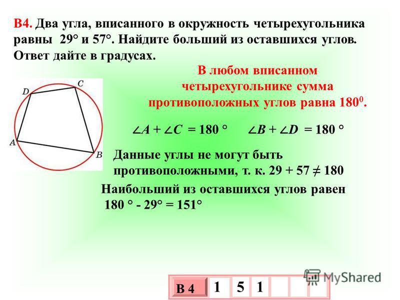 B4. Два угла, вписанного в окружность четырехугольника равны 29° и 57°. Найдите больший из оставшихся углов. Ответ дайте в градусах. 3 х 1 0 х В 4 1 5 1 Наибольший из оставшихся углов равен 180 ° - 29° = 151° Данные углы не могут быть противоположным