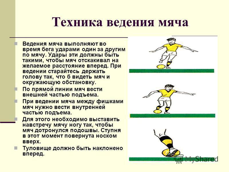 Техника ведения мяча Ведения мяча выполняют во время бега ударами один за другим по мячу. Удары эти должны быть такими, чтобы мяч отскакивал на желаемое расстояние вперед. При ведении старайтесь держать голову так, что б видеть мяч и окружающую обста