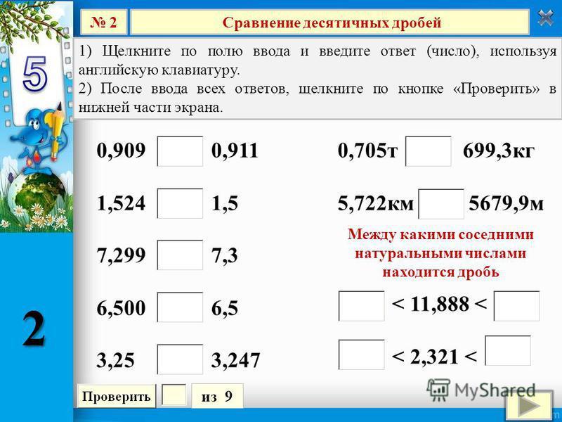 Сравнение десятичных дробей 2 из 9 1) Щелкните по полю ввода и введите ответ (число), используя английскую клавиатуру. 2) После ввода всех ответов, щелкните по кнопке «Проверить» в нижней части экрана. 0,909 0,911 1,524 1,5 7,299 7,3 6,500 6,5 3,25 3