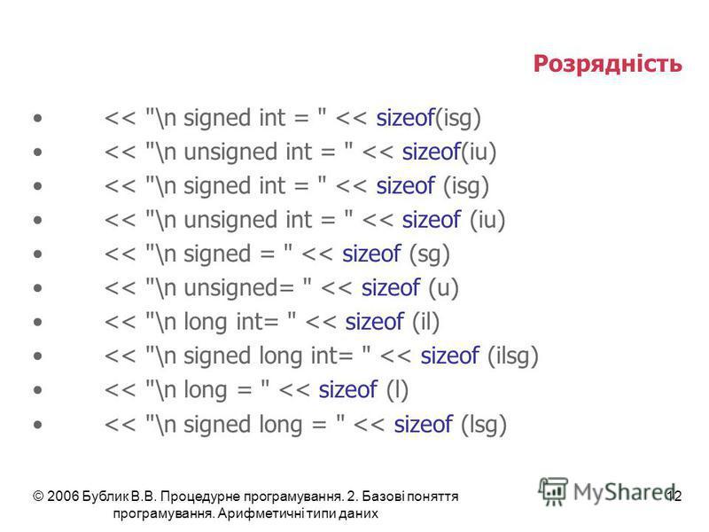 © 2006 Бублик В.В. Процедурне програмування. 2. Базові поняття програмування. Арифметичні типи даних 12 Розрядність <<