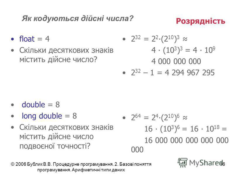 © 2006 Бублик В.В. Процедурне програмування. 2. Базові поняття програмування. Арифметичні типи даних 16 Розрядність float = 4 Скільки десяткових знаків містить дійсне число? double = 8 long double = 8 Скільки десяткових знаків містить дійсне число по