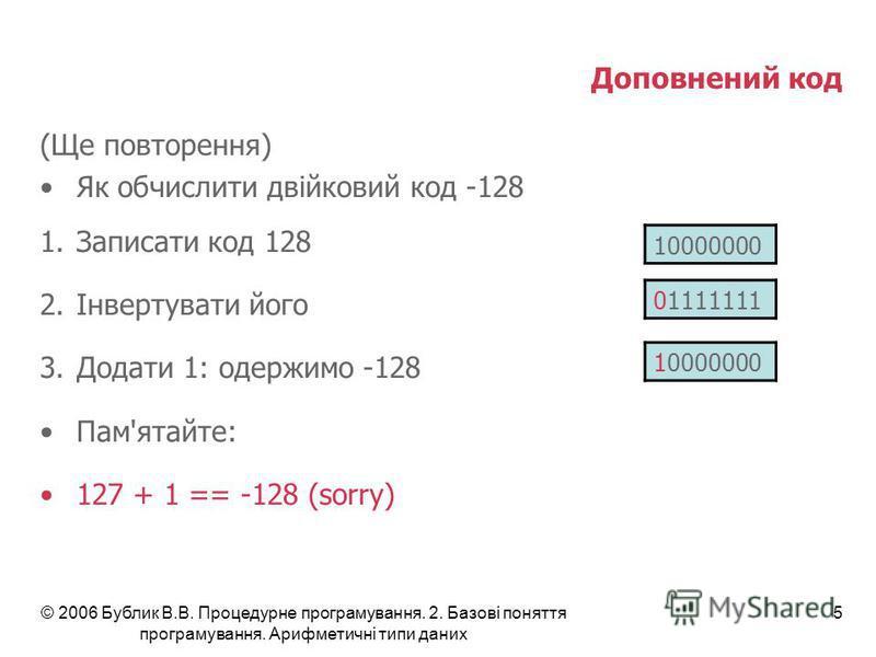 © 2006 Бублик В.В. Процедурне програмування. 2. Базові поняття програмування. Арифметичні типи даних 5 Доповнений код (Ще повторення) Як обчислити двійковий код -128 1.Записати код 128 2.Інвертувати його 3.Додати 1: одержимо -128 Пам'ятайте: 127 + 1